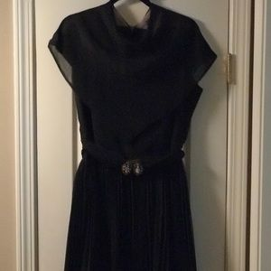 Black Cocktail Dress w/Crystal Buckle-Size 18